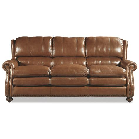 Traditional Leather Sofas Craftmaster L164650 Traditional Leather Sofa With Bustle Back And Nailhead Trim Olinde S