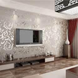 grey living room wallpaper modern house