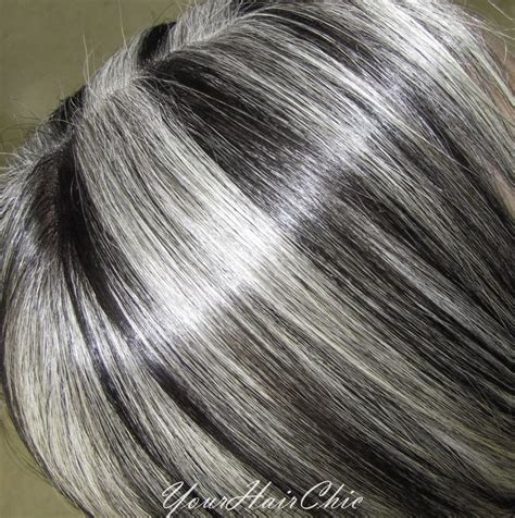 black lowlights in white gray hair dark brown hair with silver highlights