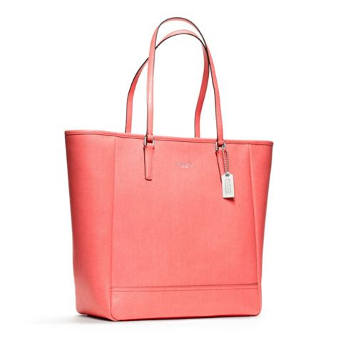 Coach City Tote 6 lyst coach northsouth city tote in saffiano leather in pink