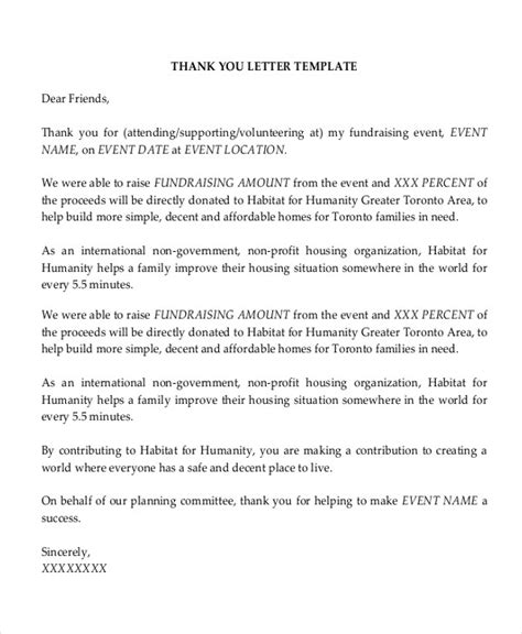 Fundraising Volunteer Thank You Letter Sle Thank You Letter For Attending Fundraising Event Docoments Ojazlink