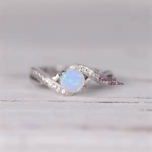 Opel Rings Womens Sterling Silver White Opal Ring Silver Opal Ring