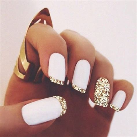 White Gold With Glitter Tips Nails | nail polish gold nails white nails gold tips sparkly