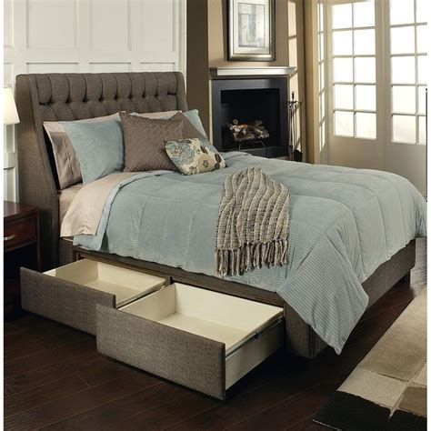 padded headboard with storage cambridge fabric upholstered storage bed in charcoal brown