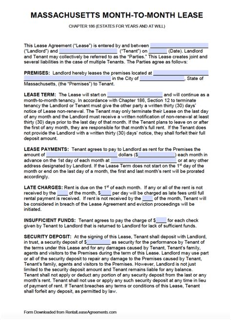 month to month lease agreement template free massachusetts month to month rental agreement