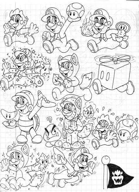 Super Mario 3d Land Power Ups Doodles Luigi By Mario 3d World Coloring Pages