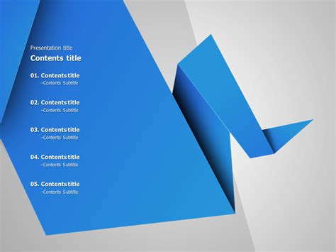 Origami Animated Powerpoint Template Goodpello Blue Color Ppt Templates Free