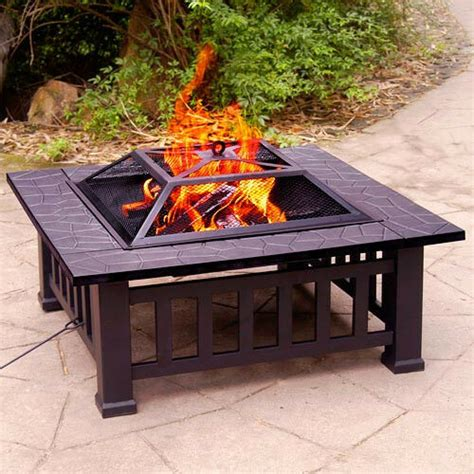 portable patio fireplace square pit outdoor fireplace heater bbq wood burning