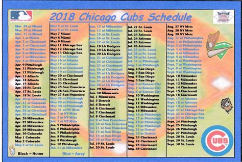 printable daily mlb schedule chicago cubs 2018 mlb baseball schedule fridge magnet ebay