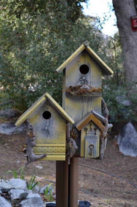 rustic birdhouse condo country style post mount garden bird