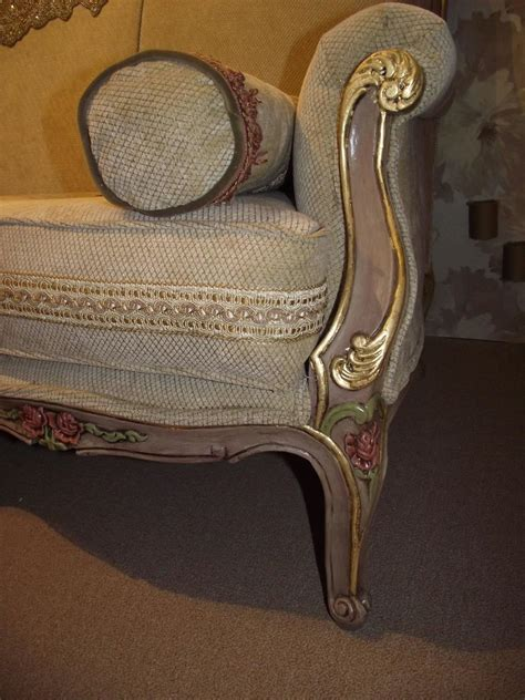 Gold Sofas For Sale by Napoleon Iii Style Sofa In Beige Chenille Frame