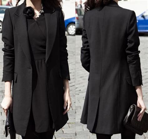 jacket design ladies suits fashion women s long design suit jacket outerwear black
