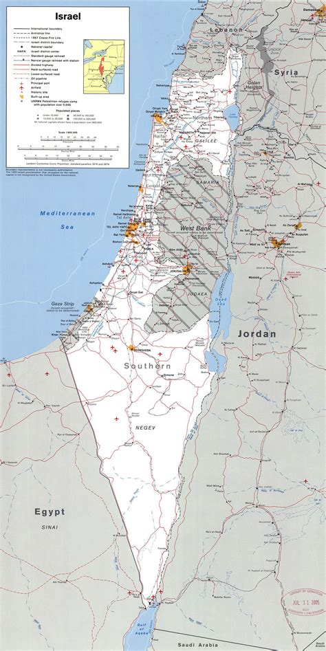 how big is the west bank large detailed political map of israel with the west bank