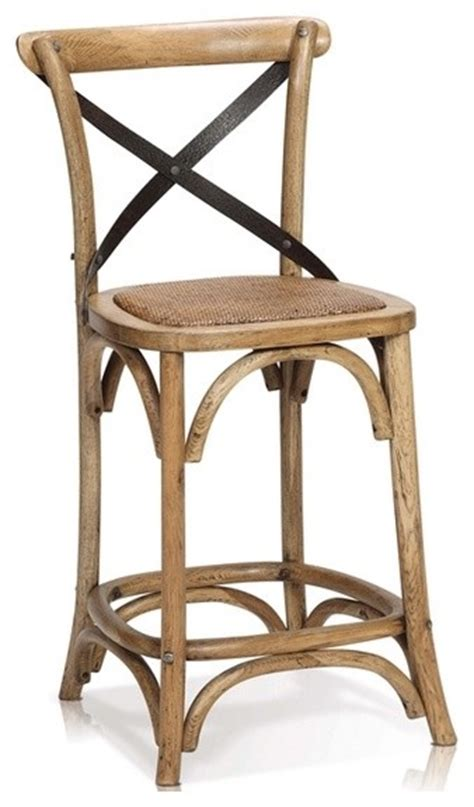 rustic kitchen stools uk tebow oak wood counter stool with cross iron back rustic