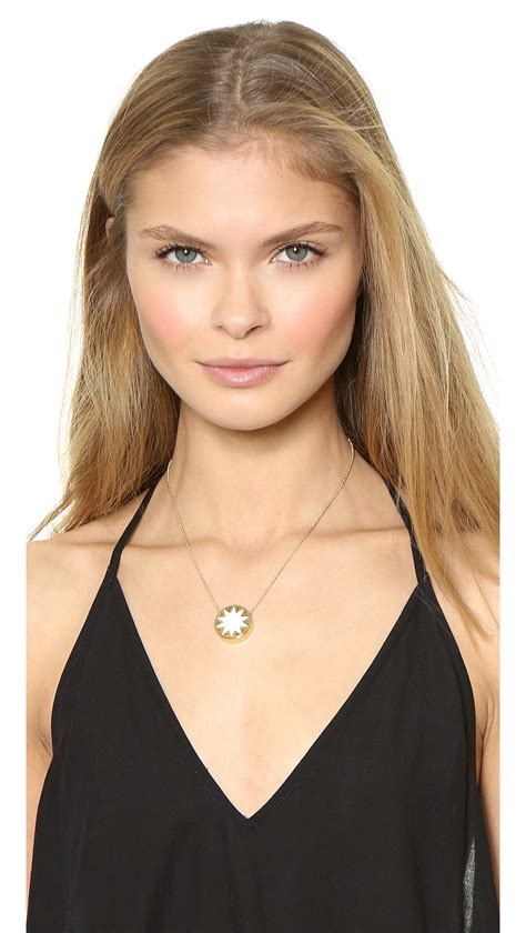 house of harlow 1960 house of harlow 1960 mini sunburst pendant necklace in metallic lyst