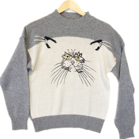 Cat Sweaters - grumpy cat vintage 80s acrylic sweater the