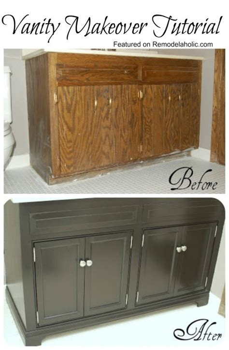 Remodelaholic   Updating A Bathroom Vanity Mom you could do this is the small bathroom off the