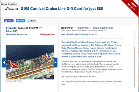 Carnival Cruise Gift Cards - carnival cruise gift cards are 15 percent off