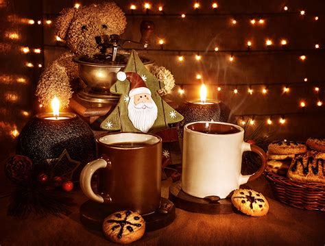 cafe natale photo new year coffee mug food candles cookies drinks