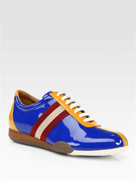 bally sneakers for bally freenew patent leather sneakers in blue for