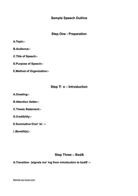 Outline Picture Of A by 43 Informative Speech Outline Templates Exles
