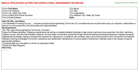 application letter for agricultural engineering agricultural engineering technician title docs