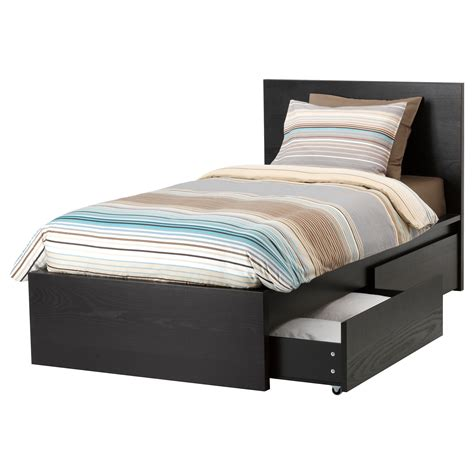Bed Box 2 by Malm Bed Frame High W 2 Storage Boxes Black Brown Lur 246 Y