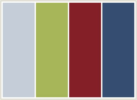colours that go with green colorcombo161 with hex colors c5cdd8 a5b557 841f27 354e71
