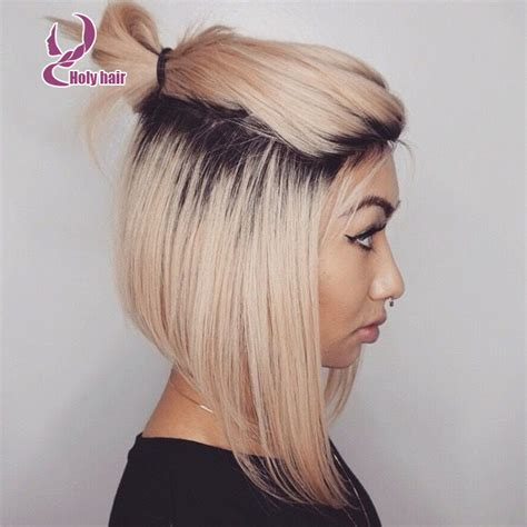 ponytail haircut for short layers front an top ponytail short ombre blonde bob human hair wig lace front