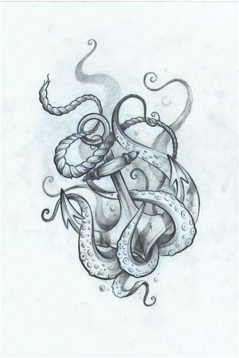 octopus and anchor tattoo drawings www imgkid com the