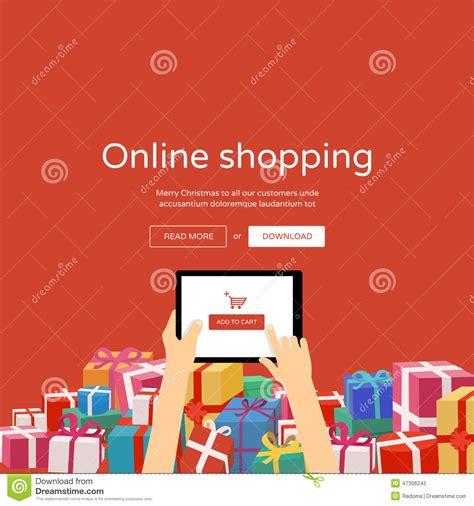 online shopping on tablet christmas gifts stock vector