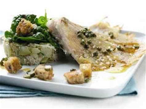 Skate Knobs Recipes by Crushed Jersey Royals With Wing Of Skate Caper And