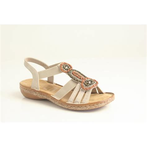 in sandals rieker rieker sandal 62804 60 in beige with elasticated
