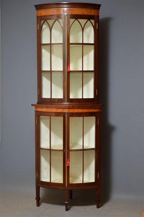 edwardian mahogany free standing corner cabinet antiques