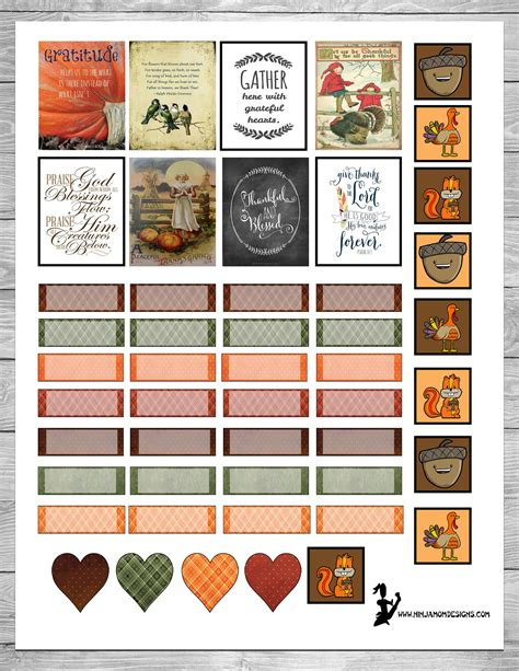 printable thanksgiving stickers free thanksgiving themed planner sticker printable
