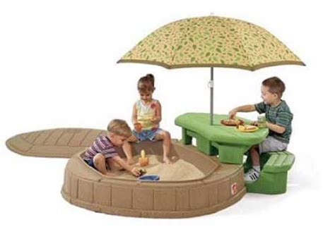 step 2 sandbox with bench and umbrella review step2 naturally playful summertime play center make every day a day at the