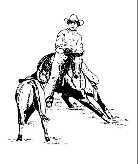 cutting horse coloring page western