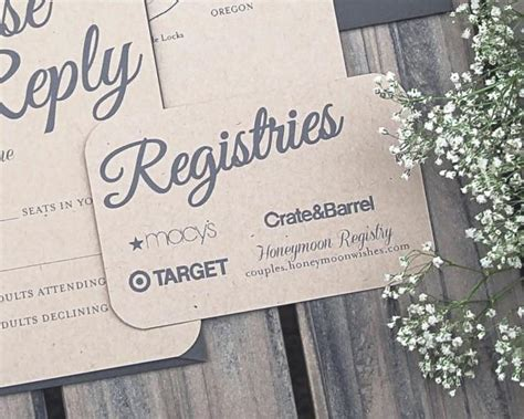 wedding invitation registry info set of rustic paper bag and gray modern wedding invitation registry cards printable or