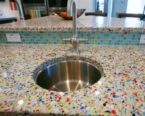 Glass Cement Countertops by Recycled Glass Countertops I How Colorful This Is
