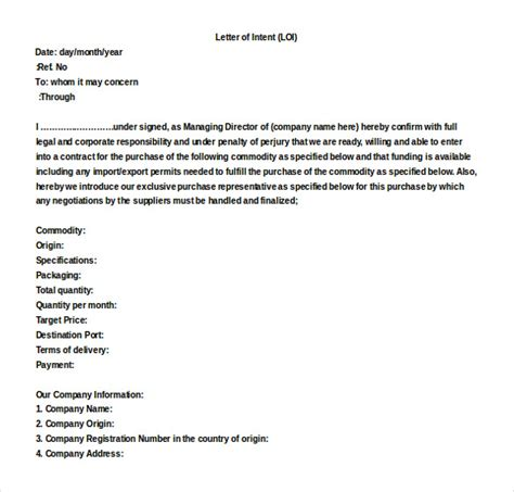 letter of intent draft template 13 word letter of intent templates free free
