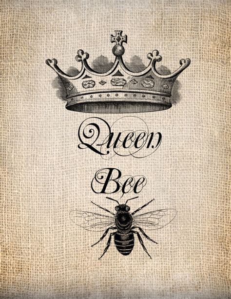 tattoo queen print antique queen bee crown script not an actual tattoo but