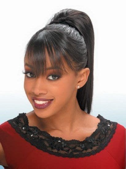 types of updo hairstyles with bangs african amer black women high ponytail hairstyles with side bangs