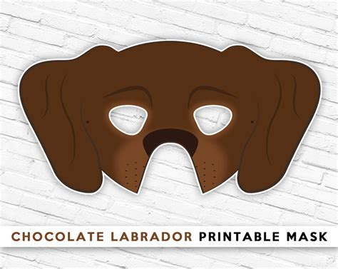 printable dog mask template chocolate labrador mask brown dog mask printable halloween