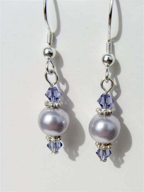 Dangle Earring lavendar pearl earrings sterling silver purple earrings