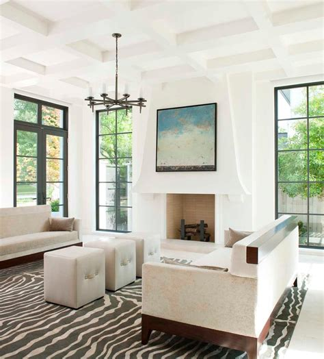 White Wall Room With Glass Windows And Blue Blinds by Paned Windows Living Room Contemporary With White