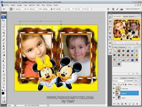 como poner varias imagenes juntas en photoshop poner fotos a los marcos disney con photoshop youtube