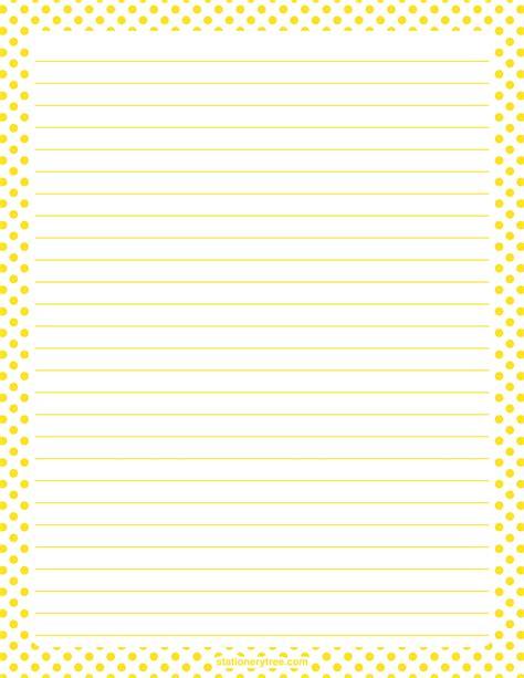 printable polka dot stationery printable yellow and white polka dot stationery