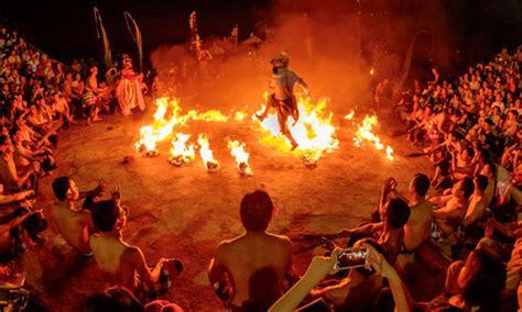 traditional fire  kecak dance bali bali  attraction