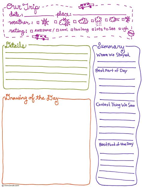bnute productions free printable trip journal page