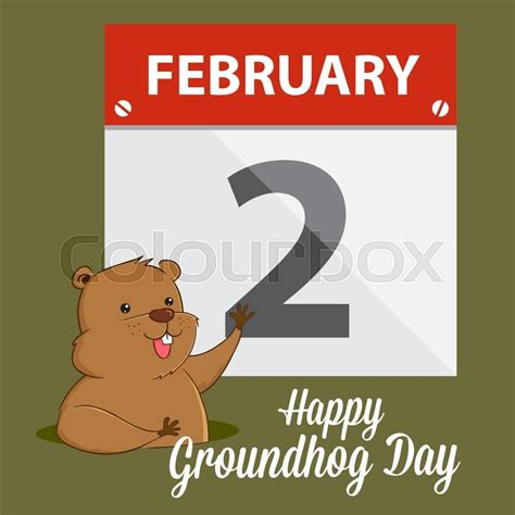 groundhog day calendar groundhog waving in front of calendar happy groundhog